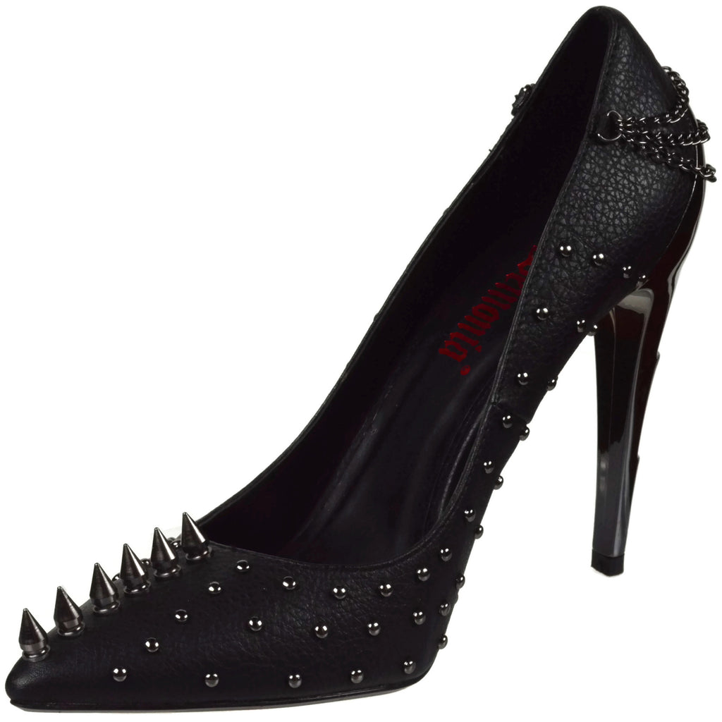 Black Chrome Lightning Bolt Heel Pump Spike Chain Stud Heels Demonia VOLTAGE-08