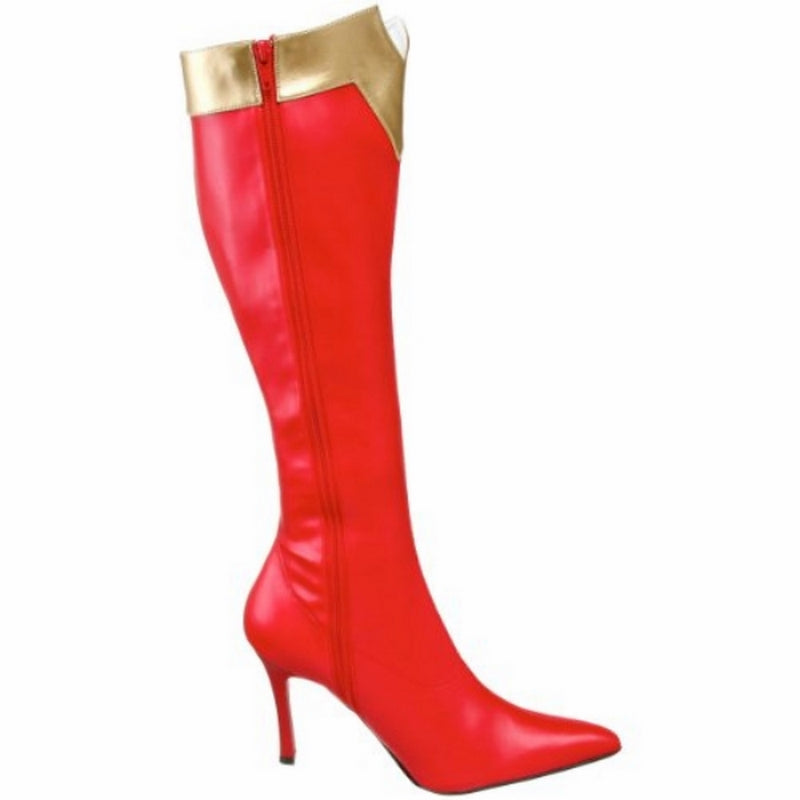 Red Gold Matte Stretchy Knee High Super Hero Boots Wonder Woman Cosplay Costume