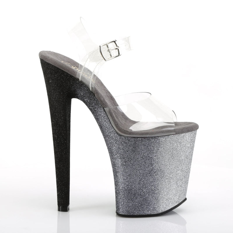 Clear Silver Black Ombre Multi Colored Glitter Clubwear Party Ankle Strap Sandal