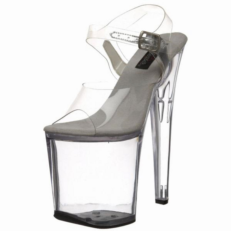 Clear Chrome Dancer Party Platform Ankle Strap Buckle Peep Toe Sandal XTREME-808