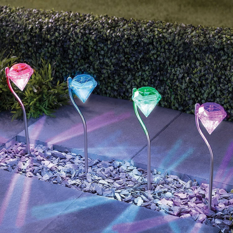 Set 4 lampi solare LED Diamond, multicolore, rezistente la apa, 29 CM