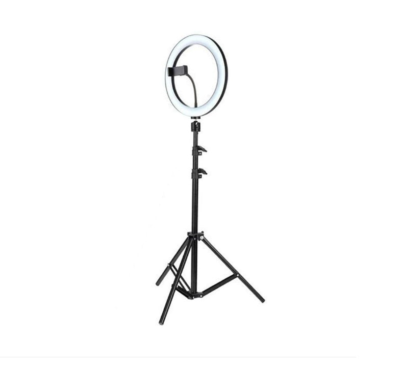 Lampă circulară Ring Light, 3 trepte lumină, telecomandă pe fir, trepied inclus, 195 cm