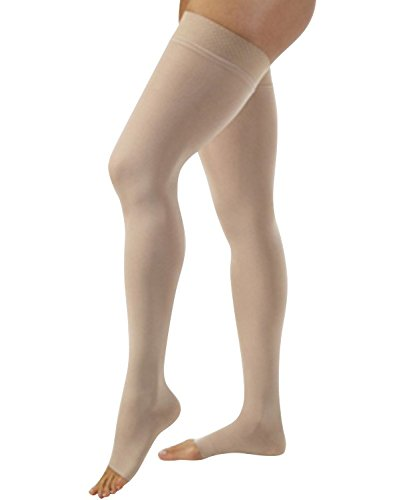 Jobst Relief 15-20 Thigh High Open Toe Beige Compression Stockings with Silicone Band