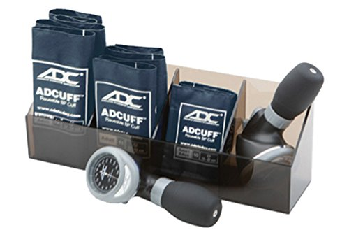 ADC Multikuf 705 General Practice Multicuff Kit with 804 Palm Aneroid Sphygmomanometer with Small Adult, Adult and Large Adult Blood Pressure Cuffs (19-50 cm), Plexiglass Tray, Navy