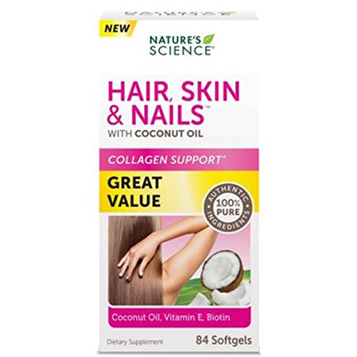Nature's Science Hair Skin & Nails with Organic Coconut Oil - 84 softgels