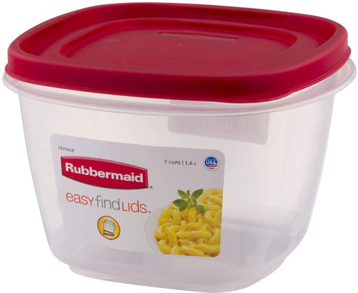 Rubbermaid 1925459 Easy Find Lid Square Food Storage Containers, 7 Cups, Catalog Code 7J67, Crystal Clear Plastic Base with Red Lid, Pack of 6
