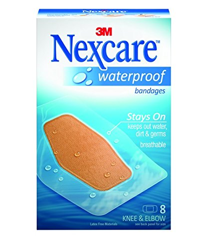 Nexcare Waterproof Clear Bandages for Knee and Elbow, Tough, 8-Count Packages (Pack of 6)