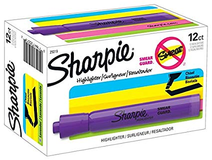 Sharpie Accent Tank Highlighters, Chisel Tip, Lavendar, 36 ct