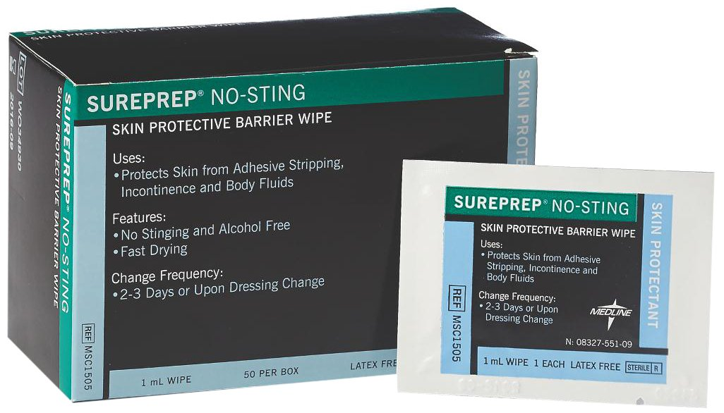 Medline MSC1505Z Sureprep No-Sting Skin Protectant, 1 mm (Pack of 50)