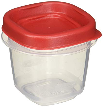 Rubbermaid  Easy Find Lid Square 1/2-Cup Food Storage Container, 6 Pack, Cups, Clear with Red