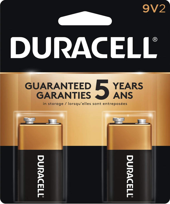 Duracell Coppertop 9V Alkaline Batteries, 2 Count