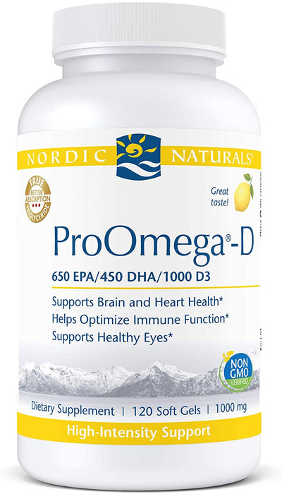 Nordic Naturals ProOmega-D, Lemon Flavor - 1280 mg Omega-3 + 1000 IU D3 - High-Potency Fish Oil - EPA & DHA - Brain, Eye, Heart, Joint, Immune Health - Non-GMO