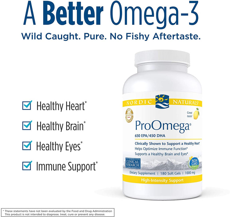 Nordic Naturals ProOmega, Lemon Flavor - 1280 mg Omega-3 - High Potency Fish Oil with EPA & DHA - Promotes Brain, Eye, Heart, Immune Health - Non-GMO