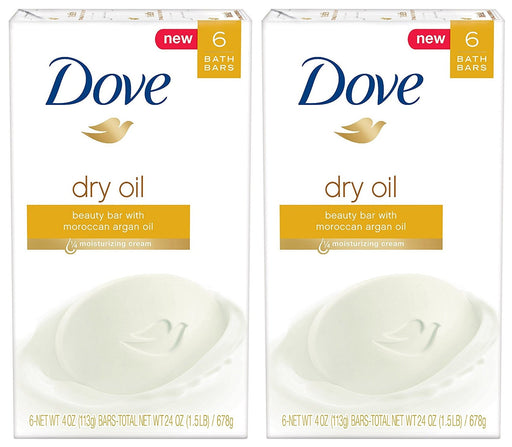 Dove Beauty Bath Bar, Dry Oil, 4 Ounce, 6 Bar (Pack of 2) 12 Bars Total
