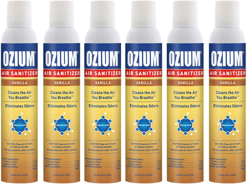 Ozium 8 Oz.Air Sanitizer & Odor Eliminator 6 Pack for Homes, Cars, Offices and More, Vanilla, 6 Pack