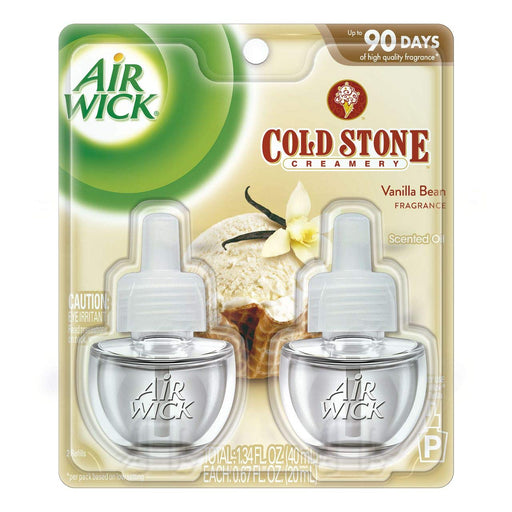 Air Wick plug in Scented Oil 2 Refills, Cold Stone Creamery Vanilla Bean , (2x0.67oz), Essential Oils, Air Freshener