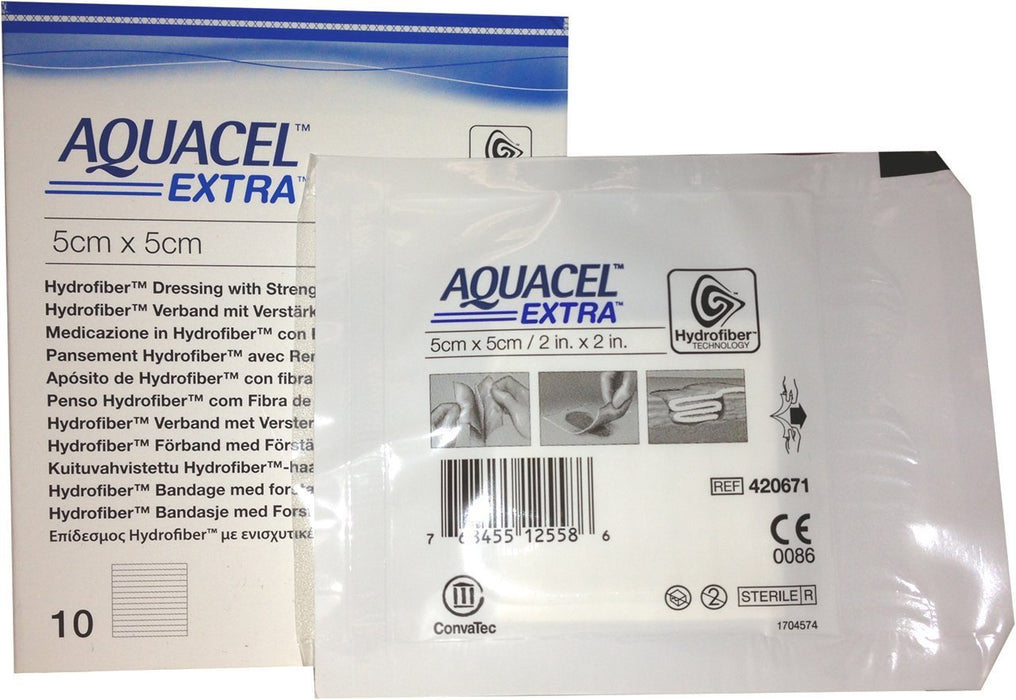 "New and Improved AQUACEL� EXTRA Hydrofiber� dressing 2"" x 2"" (Box of 10 dressings)"