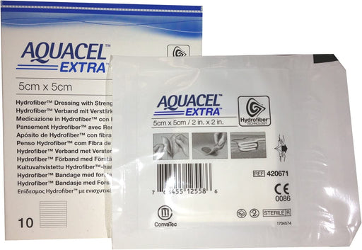 "New and Improved AQUACEL Extra Hydrofiber Dressing 2"" x 2"" (Box of 10 dressings)"