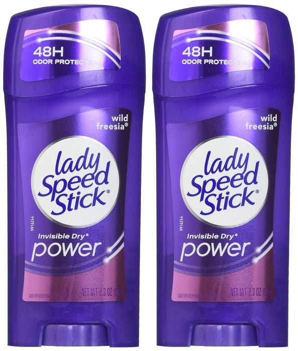Lady Speed Stick Antiperspirant Deodorant, Invisible Dry, Wild Freesia 2.30 oz (Pack of 2)