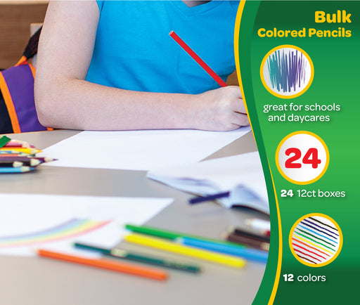 Crayola Colored Pencils 12 Each (Pack of 24), Pre-sharpened, Assorted Colors - 68-0004