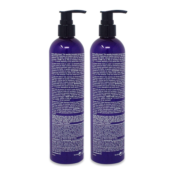 TIGI Bed Head Dumb Blonde Purple Toning Shampoo, 13.5 Ounce (2 Pack)