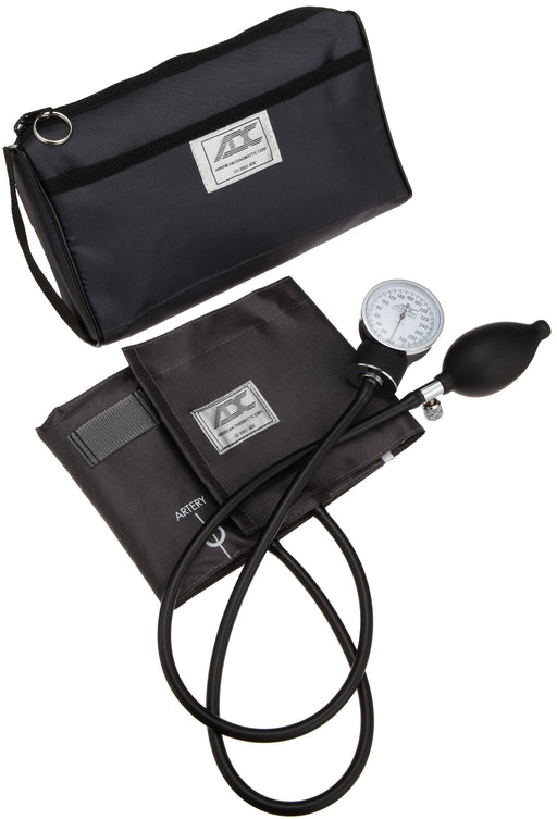 ADC Prosphyg 768 Pocket Aneroid Sphygmomanometer with Adcuff Nylon Blood Pressure Cuff, Adult, and Carrying Case, Gray