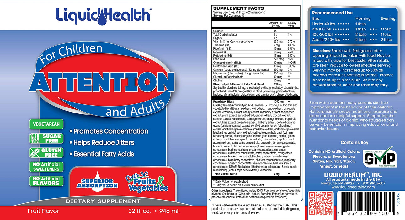 Attention Dietary Supplement(Fruits+Green)32.fl.oz.