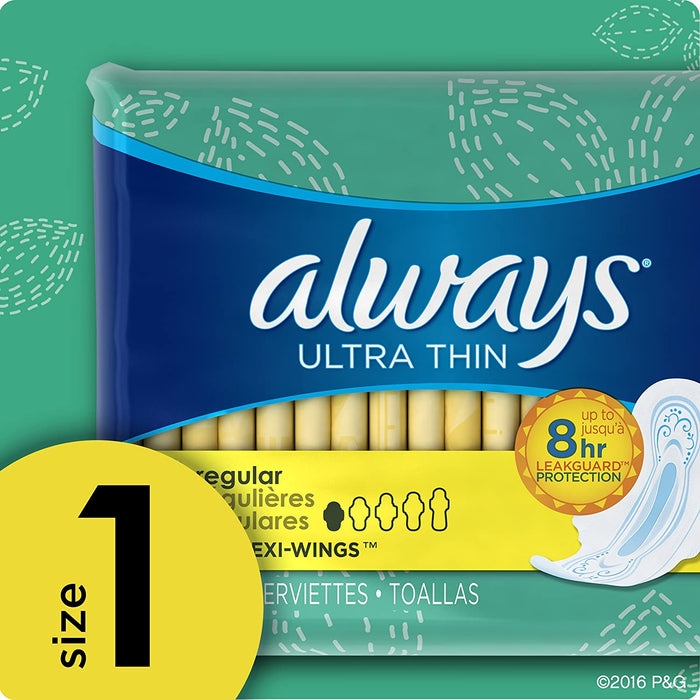 ALWAYS Ultra Thin Size 1 Regular Pads With Wings Unscented, 36 Count