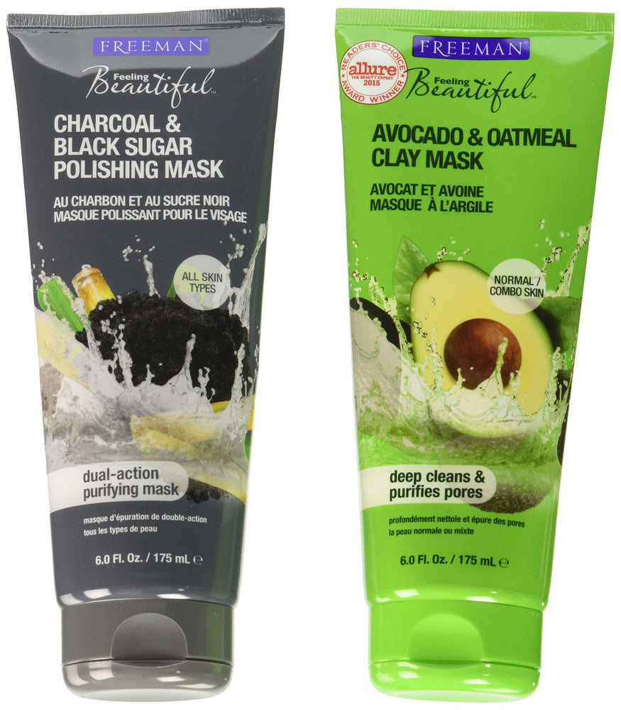 Freeman Feeling Beautiful Charcoal & Black Sugar Gel Mask + Scrub and Avocado Clay Mask, 6-Ounce, 2 Count