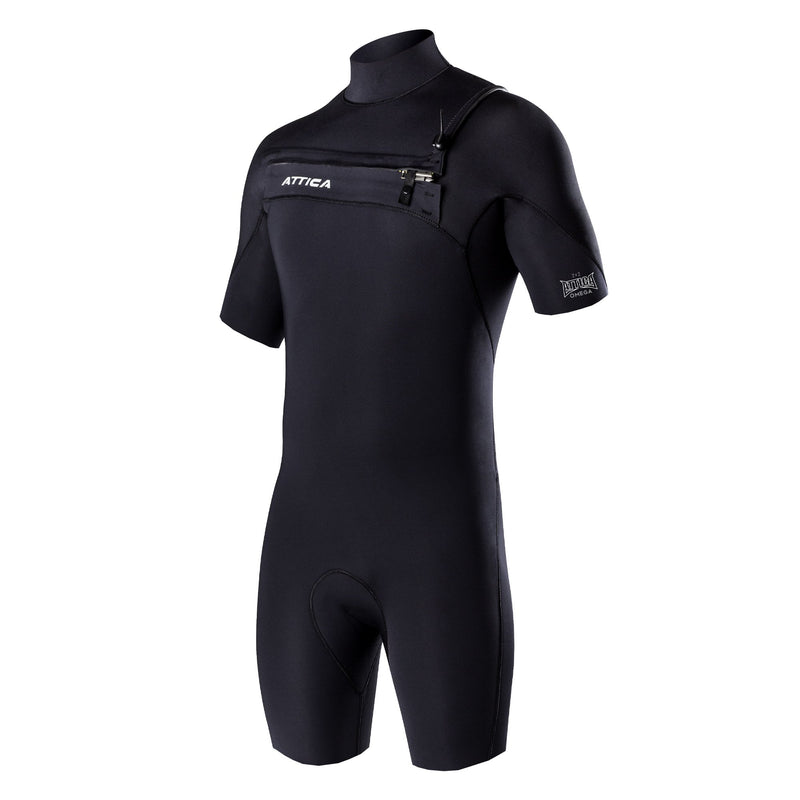 OMEGA Short Sleeve Chest Zip 2/2MM Spring - BLACK / White - Nomad Bodyboards