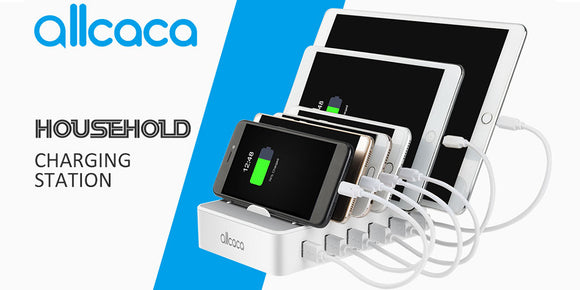 ALLCACA USB CHARGING STATION DOCK 6-PORT, BRITISH SPECIFICATION PLUG