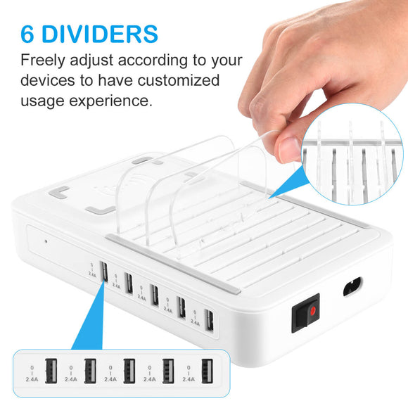 ALLCACA 40W Charging Station 5-Port Charging Dock Organizer with 1 Wireless Charging Pad, Removable Baffles Compatible for Multiple Devices, White - ALLCACA