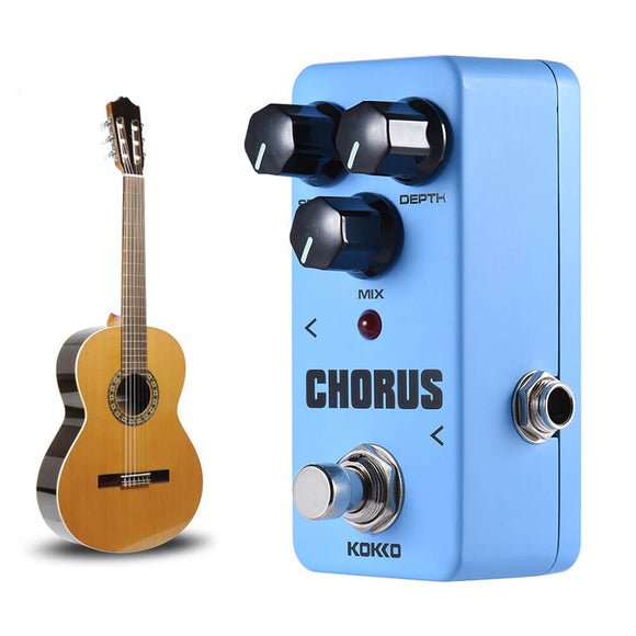 ALLCACA Chorus Guitar Effect Pedal Mini Guitar Chorus Pedal Portable Analog True Bypass, Blue - ALLCACA