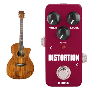 ALLCACA Distortion Guitar Pedal Mini Guitar Effect Pedal Electric Guitar True Bypass, Wine - ALLCACA