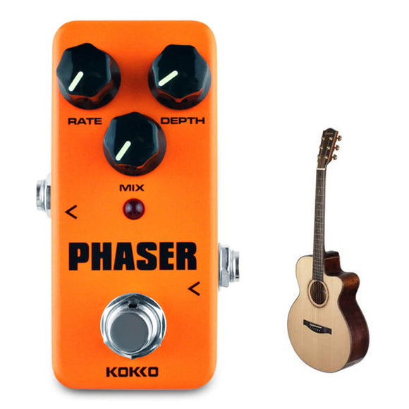 ALLCACA Guitar Phaser Panel Mini Guitar Effect Panel Portable True Bypass Panels, Powered by AC Adapter, Orange - ALLCACA