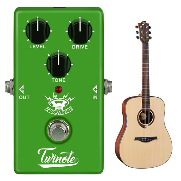 ALLCACA Tube Drive Guitar Overdrive Pedal Tube Overdrive Effects Pedal Guitar Effect Pedals, Green - ALLCACA