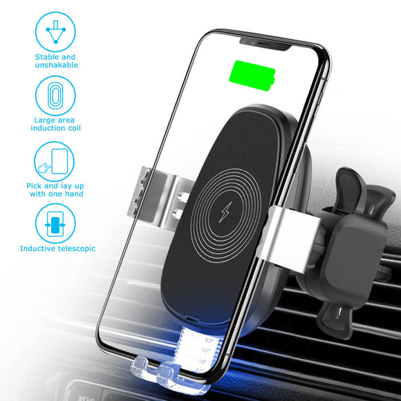 ALLCACA Wireless Car Charger Mount Auto-Clamping Car Phone Holder Vehicle Fast Charging Phone Stand with One Touch - ALLCACA