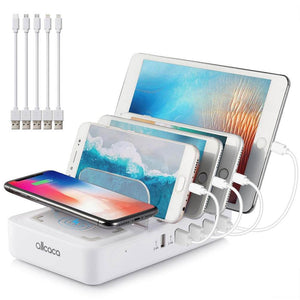 ALLCACA Wireless Charging Station Dock 6-in-1 Desktop Charger Organizer - ALLCACA