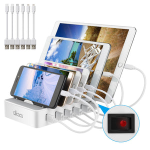 ALLCACA Integrated USB Charging Station 6-port Intelligent Charging Stand Organizer - ALLCACA