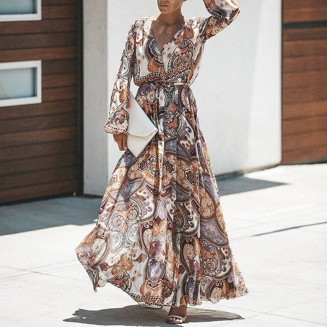 Cute Plus Size Print Boho Long Dress