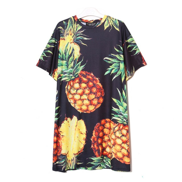 Cartoon Print Pineapple Dress Print Large XL Ebay Amazon Summer dress