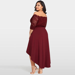 Plus Size XL -5XL Asymmetrical Summer Dress With Lace