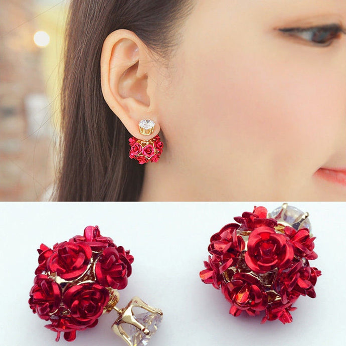 Crystal  Flower Earrings  woman accessories red rozes summer earrings
