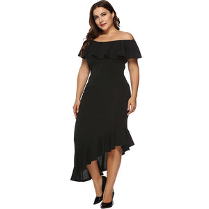 Plus Size  XXXL Asymmetric Dress With Ruffles