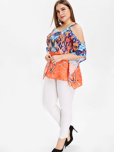 Plus Size L-5XL Ethinc Blouse With Print