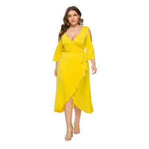 Curve womens Plus size Plus Size XL-6XL Midi Dress yellow green dress  Large Medium plus A-Line Mesh And Pleated Dress Alternative.Patchwork.fashion boho hippie