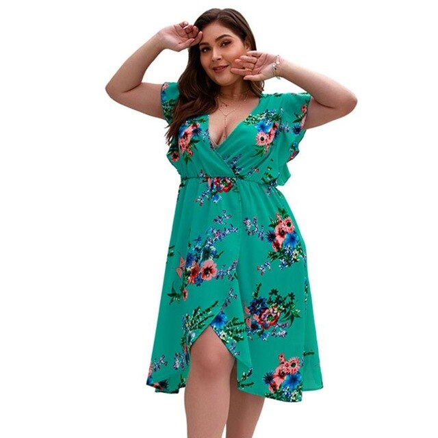 Plus Size Floral Dress With Ruffles