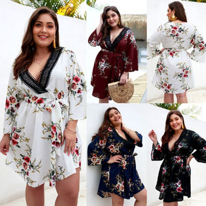 Curve womens Plus size Plus Size Floral Beach Dress Large Medium plus A-Line Mesh And Pleated Dress Alternative.Patchwork.fashion boho hippie