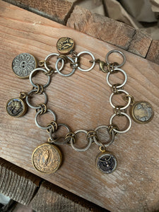 antique button charm bracelet