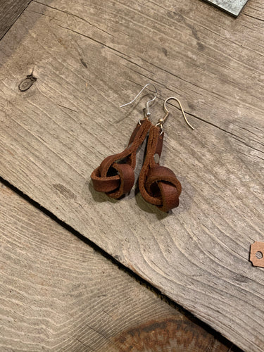 all knotted up earrings in brown
